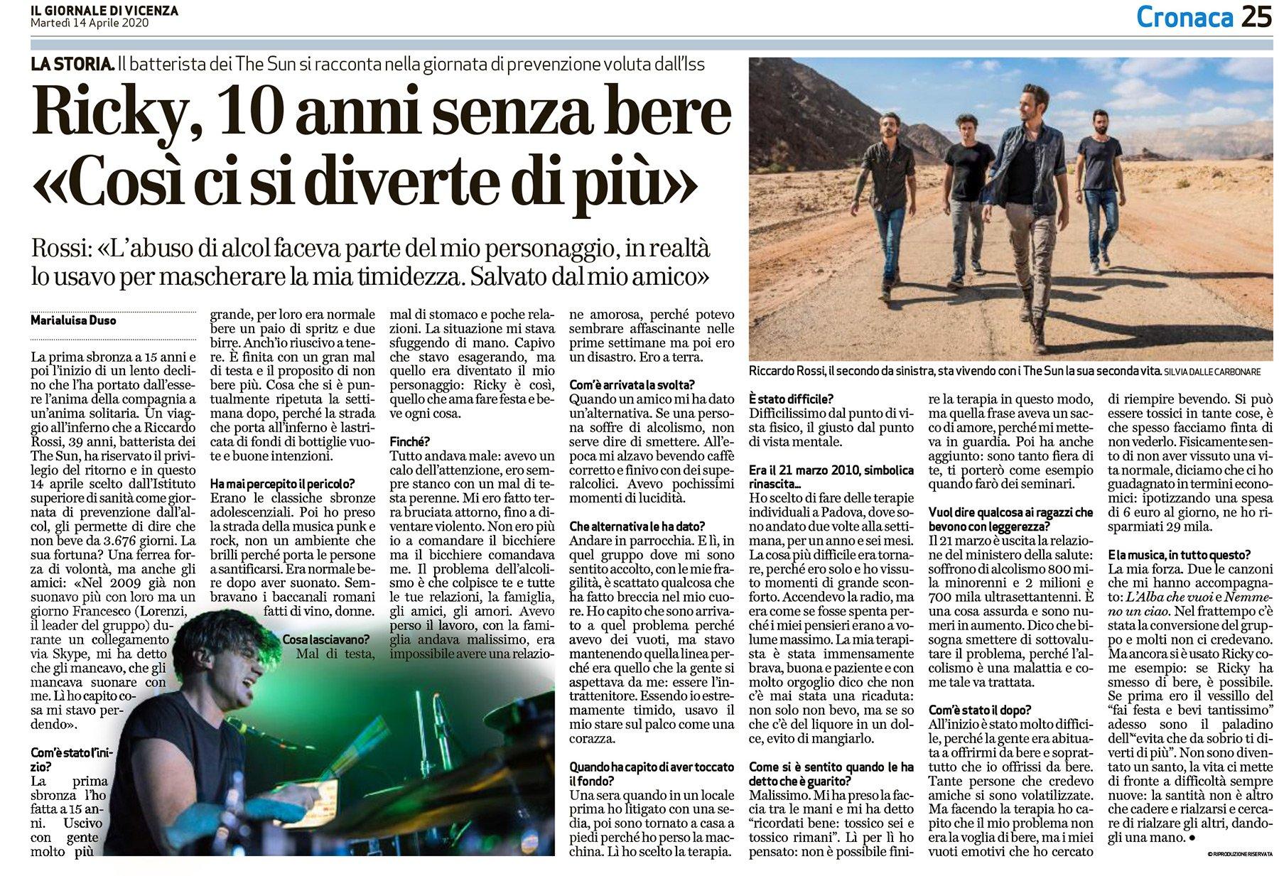 the sun rock band il giornale di vicenza